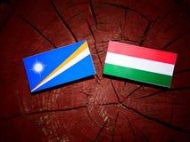Marshall Islands flagga med den ungerska flaggan på en isolat för trädstubbe Arkivbild