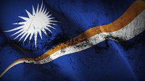 Marshall Islands grunge dirty flag waving on wind. Marshallese background fullscreen grease flag blowing on wind. Realistic filth fabric texture on windy day Stock Photo