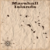 Marshall Islands old map with grunge and crumpled paper. Vector illustration Royalty Free Stock Image