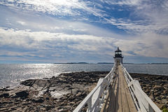 Marshall Point Light as seen from the rocky coast of Port Clyde, Royalty Free Stock Images