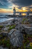 Marshall Point Light and Rocks on Coastline royalty free stock photography