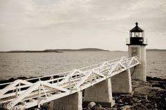 Marshall Point lighthouse. On Atlantic coast of Maine Stock Photo