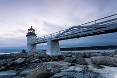 Marshall Point Lighthouse. After sunset, Maine, USA Royalty Free Stock Photos