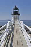 Marshall Point Lighthouse Port Clyde Maine, USA. Wide-angle vertical view of Marshall Point Lighthouse looking toward Penobscot Bay, Port Clyde, St. George Royalty Free Stock Image