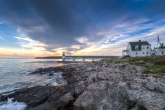 Marshall Point Lighthouse Shoreline and Keepers House. Port Clyde, Maine, USA royalty free stock images
