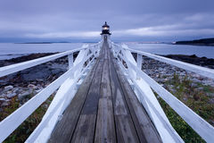 Marshall Point Lighthouse at sunset. Port Clyde - Marshall Point Lighthouse at sunset, Maine, USA Stock Images