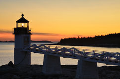 Marshall Point Lighthouse at Sunset stock photography