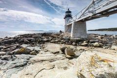 Marshall punktu światło jak widzieć od skalistego wybrzeża Portowy Clyde, Fotografia Stock