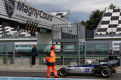 Marshall at the start. MAGNY-COURS, FRANCE, June 30, 2017 : Marshall at the start. The First French Historic Grand Prix takes place in Magny-Cours with a lot of Royalty Free Stock Photography