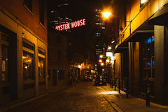 Marshall Street and the Union Oyster House sign in Boston, Massa Stock Image