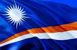 Marshall wysp flaga 3D falowania flaga projekt Krajowy symbol Marshall wyspy, 3D rendering Obywatelów kolory i obywatel zdjęcie royalty free