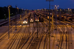 Marshalling yard at night Stock Image