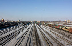 Marshalling yard in Saint Petersburg, winter Stock Image