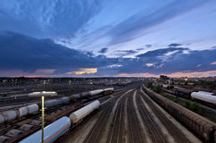 Marshalling yard at sunset Royalty Free Stock Photo