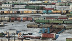 Marshalling yard view from above. Marshalling yard, Endless train railway cars view from above stock video footage