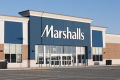 Marshalls Storefront. DARTMOUTH, CANADA - APRIL 03, 2015: Marshalls is an American chain of department stores owned by TJX. Marshalls has more than 750 stores Stock Photography