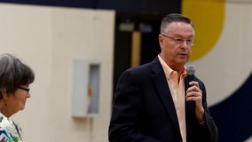 Marshalltown, Iowa, USA.  May 11, 2017.  Rod Blum town hall stock video