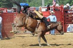 Marshfield, Massachusetts - 24 de junio de 2012: Un vaquero Riding del rodeo un caballo salvaje Bucking a pelo Imagenes de archivo