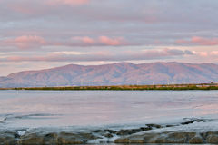 Marshland and Mountains Sunset Royalty Free Stock Images