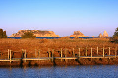 Marshlands in Estartit (Costa Brava, Spain). With Medes Islands on background stock photos
