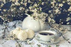 Marshmallow και τσάι με τους ανθίζοντας κλάδους Στοκ Εικόνες