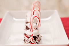 Marshmallow τα Χριστούγεννα μεταχειρίζονται με τους καλάμους καραμελών Στοκ φωτογραφία με δικαίωμα ελεύθερης χρήσης