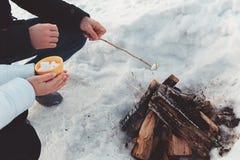 Marshmallow ψητού ζεύγους πέρα από την πυρά προσκόπων Στοκ εικόνα με δικαίωμα ελεύθερης χρήσης