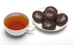 Marshmallow And Cup With Tea. Stock Photography