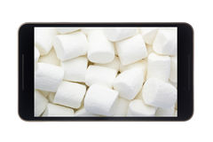 Marshmallow in Android smartphone. Concept for Android Marshmallow operating system stock photos