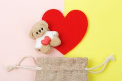 Marshmallow bear with red heart valentine`s day concept. Stock Images