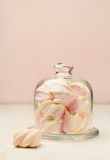 Marshmallow in a beautiful glass dish Royalty Free Stock Image