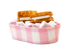 Marshmallow and belgian waffle in a basket Royalty Free Stock Image