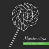 Marshmallow on black. Spiral marshmallows candy hand drawn vector Illustration on black.  Sweet icon -  spiral marshmallow Stock Photography