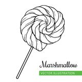 Marshmallow _1 black. Spiral marshmallows candy hand drawn vector Illustration.  Sweet icon -  spiral marshmallow Stock Image