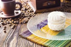 Marshmallow cake and coffee Royalty Free Stock Photos
