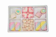 Marshmallow candy in plastic box Royalty Free Stock Photo