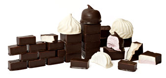 Marshmallow in chocolate Stock Images