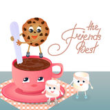 A Marshmallow, a chocolate chip cookie and a coffee cup. Stock Image