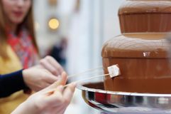 Marshmallow and chocolate fondue fountain Royalty Free Stock Photos