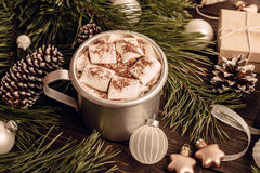 Marshmallow coffee on the Christmas background Stock Photo