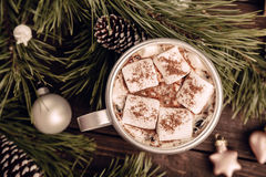 Marshmallow coffee on the Christmas background Royalty Free Stock Photo