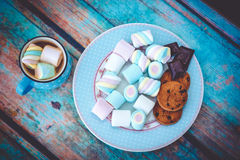 Marshmallow cookies and chocolate above view1 Royalty Free Stock Image