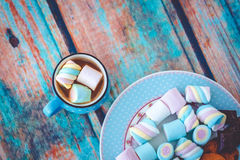 Marshmallow cookies and chocolate above view Stock Image