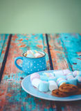 Marshmallow cookies and chocolate vertical Royalty Free Stock Image