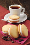 Marshmallow cookies and coffee Stock Image