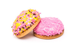 Marshmallow Cookies With Colorful Sugar Sprinkles. Isolated stock images