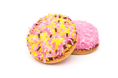 Marshmallow Cookies With Colorful Sugar Sprinkles Stock Photography