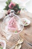 Marshmallow cor-de-rosa delicado da ma?? feito ? m?o em um vaso transparente de vidro felicite sinal da aten??o Marshmallow, sobr imagem de stock