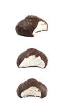 Marshmallow covered in chocolate isolated Stock Images