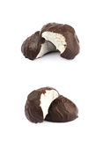Marshmallow covered in chocolate isolated Stock Image